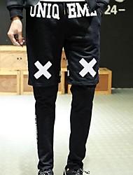 Pantalón Deportivo ( Negro , Algodón ) - Casual - Impresión - para HOMBRES