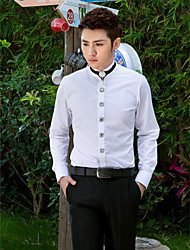 Shirts Mandarin Long Sleeve Cotton/Polyester Solid White
