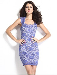 Women's Lace Nude Illusion Mini Dress
