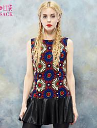 Elf Sack Womens Spring Dress Sleeveless Vintage Floral Print PU Hem