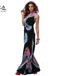 OBELL® Women's Sexy/Beach V Neck Hot Floral Print Backless Maxi Dress