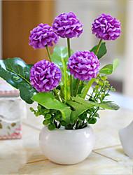 flores roxas hygrangeas artificiais com vaso