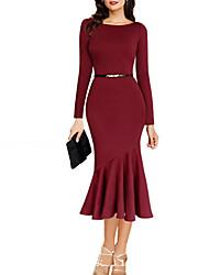 Women's Round Dresses , Cotton Beach/Party Long Sleeve SASA