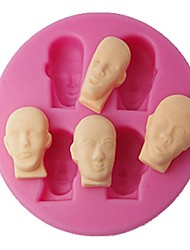 FOUR-C Cupcake Top Moulds Men Faces Fondant Molds Cup Cake Tools Color Pink
