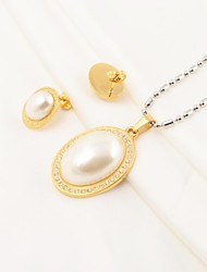 Fashion Oval Pearl Inlaid Stainless Steel(Necklace&Earrings) Jewelry Set