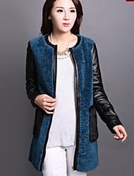 Women's Blue Coat , Casual/Party Long Sleeve Wool/Sheepskin