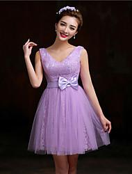 Short/Mini Lace Bridesmaid Dress - Purple/Candy Pink A-line V-neck