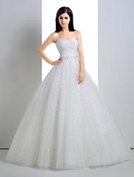 Ball Gown Wedding Dress - White Floor-length Sweetheart Linen/Tulle
