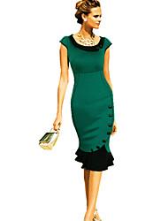 Women's Work Sheath / Trumpet/Mermaid Dress,Solid Round Neck Midi Short Sleeve Multi-color Summer