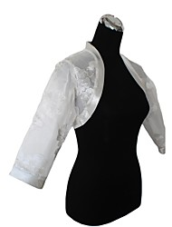 Wedding  Wraps Coats/Jackets 3/4-Length Sleeve Organza White Wedding / Party/Evening Flower(s) Open Front