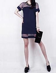 Fenze Women's Sexy Mesh Chiffon Short Sleeve Dress