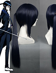 Angelaicos Mens K Yatogami Kuroh Blue Layered Long Ponytail Straight Halloween Party Costume Cosplay Wigs