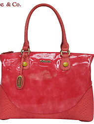 Kate&Co.® Women's Red Pvc Italian Style Luxury Mirror Surface Handbag