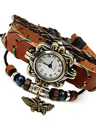 Women's Fashion Sweet Temperament Wild Leather Butterfly Beaded Bracelet Watch