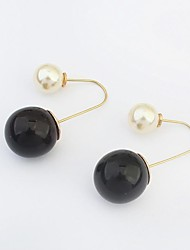 Women's Elegant Big and Small Two Pearls Hook Dangle Earrings