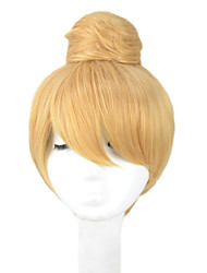 Angelaicos Womens Princess Tinker Bell Cute Girl Bun Short Blonde Updo Halloween Party  Costume Cosplay Wigs