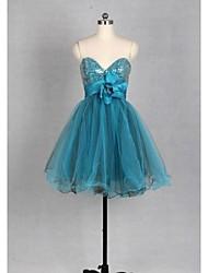 Cocktail Party Kleid Tülle - A-Linie - mini - Herz-Ausschnitt