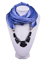 D Exceed   Women Gradient Design Infinity Ring Blue Scarves Voile Scarf with Irregular Beads Pendant Scarfs