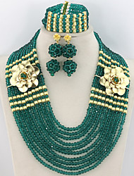 African Beads Jewelry Set Indian Bridal Costume Jewelry Beads Set Necklace Bracelet Earrings Set