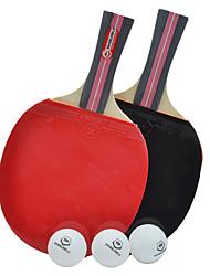 WinMax duráveis 3 estrelas pás tênis de mesa longa alça (1 pares) com 3 bolas de ping-pong