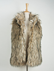 Fur Vests  Sleeveless Faux Fur Brown