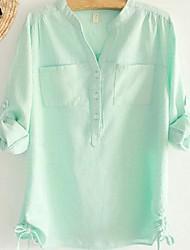 Women's Casual Cute Micro Elastic Long Sleeve Regular Shirt