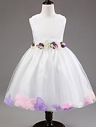 A-line / Princess Knee-length Flower Girl Dress - Satin / Tulle Sleeveless Scoop with