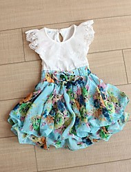 2015 Girls Cute Flower Dresses Baby Gilr Summer Fashion Dress Children Cotton Princess Clothing Baby Child Party Clothes