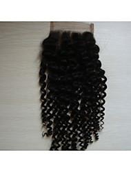 """8 """"crépus bouclés brésiliens vierges morceaux de cheveux de cheveux dentelle fermeture 4"""" x4 """"free style couleur naturelle 1pc"""