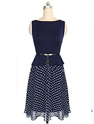Hualala Women's Fashion Waisted Dots Sleeveless Dress
