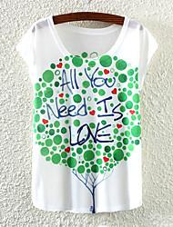Women's Fashion Korea Love Tree Print Bat Sleeve T-shirt