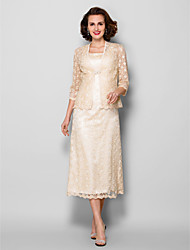 Lanting Bride® Sheath / Column Plus Size / Petite Mother of the Bride Dress - Wrap Included Tea-length 3/4 Length Sleeve Lace withCrystal