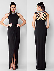 Formal Evening Dress - Black Sheath/Column Jewel Asymmetrical Chiffon