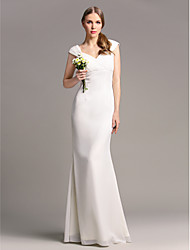 Floor-length Chiffon Bridesmaid Dress - Ivory Plus Sizes / Petite Sheath/Column V-neck