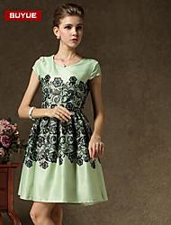 suyue® vestido de cuello redondo de las nuevas mujeres de la moda de la vendimia de la impresión delgada de la moda clásica