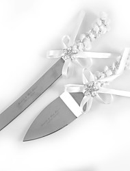 Serving Sets Wedding Cake Knife Personalized White  Satin  Cake Serving Set with