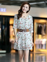 Women's Half Sleeve Chiffon Dress Summer Sale Casual Belt Floral Dresses