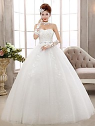 Ball Gown Wedding Dress-Floor-length Strapless Lace