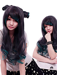 Zipper Vampire Black And Green Long Curly Gothic Lolita Wig
