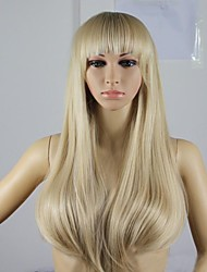 European And American Fashion Light Blonde Look Fleeciness Straight Hair Wig
