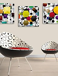 E-HOME® Stretched Canvas Art  Abstract Three-dimensional Pattern Decoration Painting Set of 3