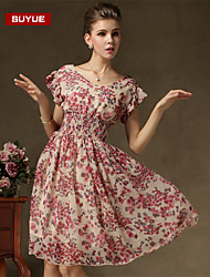 Suyue® High Quality Women's Slim Chiffon V-Neck Knee-Length Dress