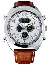 Herren Sportuhr Quartz LCD / Kalender / Chronograph / Wasserdicht / Duale Zeitzonen / Alarm Leder Band Schwarz / Braun Marke-