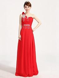 Formal Evening Dress - Fuchsia / Ruby Plus Sizes A-line One Shoulder Floor-length Chiffon