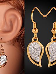 fantasia de luxo do vintage corações brincos swa strass cristal 18k verdadeiro ouro jóias banhado para as mulheres de alta qualidade