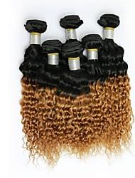 16inch 1Pcs/Set Great 6A Brazilian Virgin Human Hair Deep Curly Ombre Hair Weave (1B / #27)
