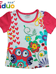 Ajiduo 1-6Y Baby Girls' Birds and Flowers Printed Cotton Summer Tops T-shirt