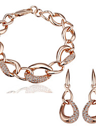 Arinna Fashion Jewelry Set Women 18k rose Gold Plated w clear crystal Earrings&bracelet Gift Set G1361