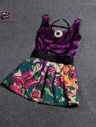 Women's Velvet Vest & Painting Skirt Suit