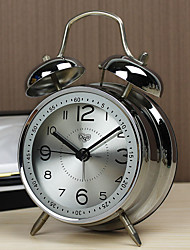 "Original Design 4""Dial Twin Bell Mute Alarm Clock Modern Men's Bedroom Clock Alloy Silver Clock with Night-Light"